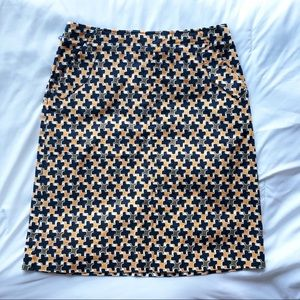 TALBOTS   Orange/Navy Knee-Length Pencil Skirt